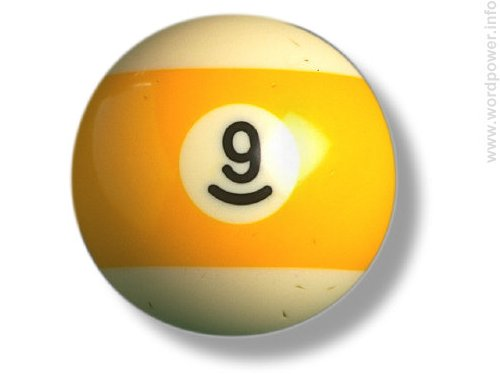 A photo quality image of a yellow number nine billiard ball.