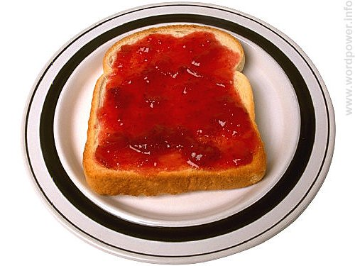A photo quality image of bread and jam